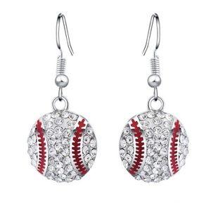 Crystal Baseball Hook Drop Bling Earrings New